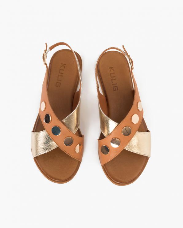Złoto-brązowe sandały damskie skórzane  084-0615-COCONTU