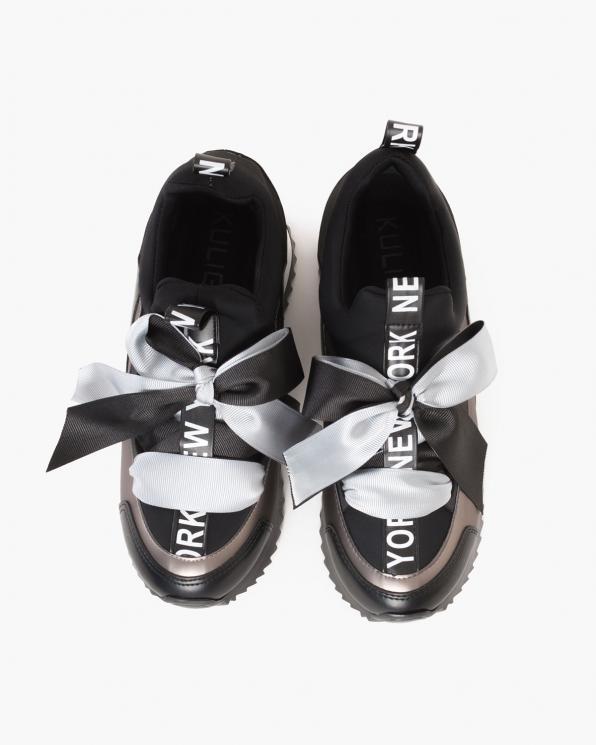 Czarno-szare sneakersy ze wstążką  083-88-CZAR-SZAR