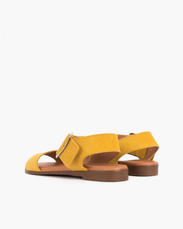 Żółte sandały damskie welurowe z klamrą  009-8119-ŻÓŁTY