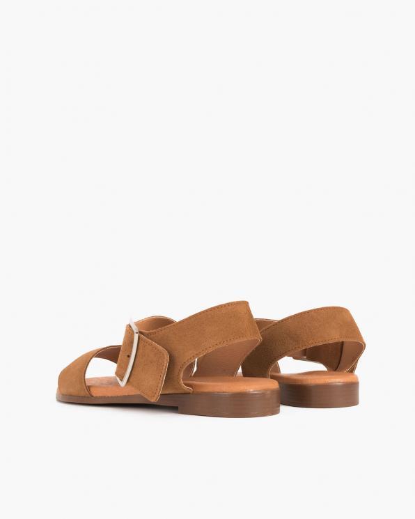 Brązowe sandały damskie welurowe z klamrą  009-8119-BRĄZ