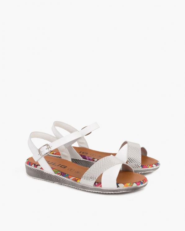 Białe sandały damskie skórzane z motywem  009-5272-BIAŁY