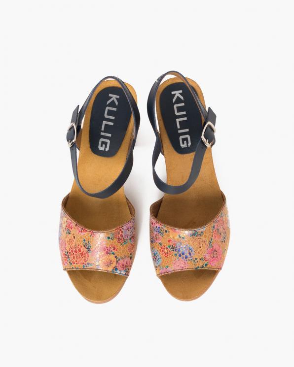 Wielokolorowe sandały damskie skórzane z motywem  009-4553-GRANAT