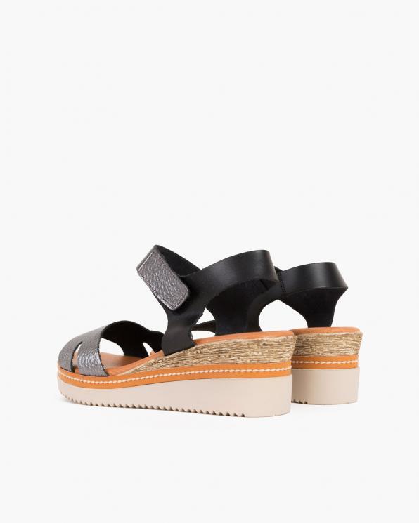 Grafitowe sandały damskie skórzane na koturnie  009-385-GRAFIT