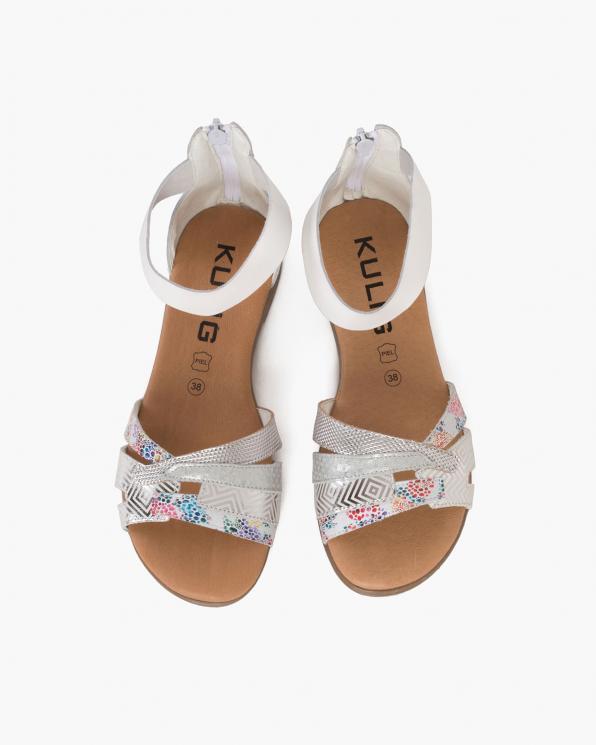 Białe sandały damskie skórzane z motywem  009-2633-BIAŁY