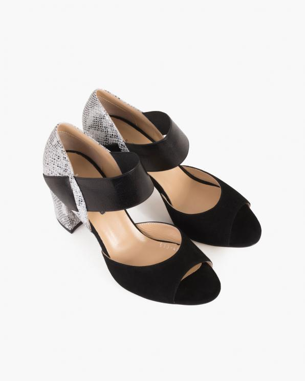 Czarno-srebrne sandały damskie welurowe na słupku  101-513-45-153