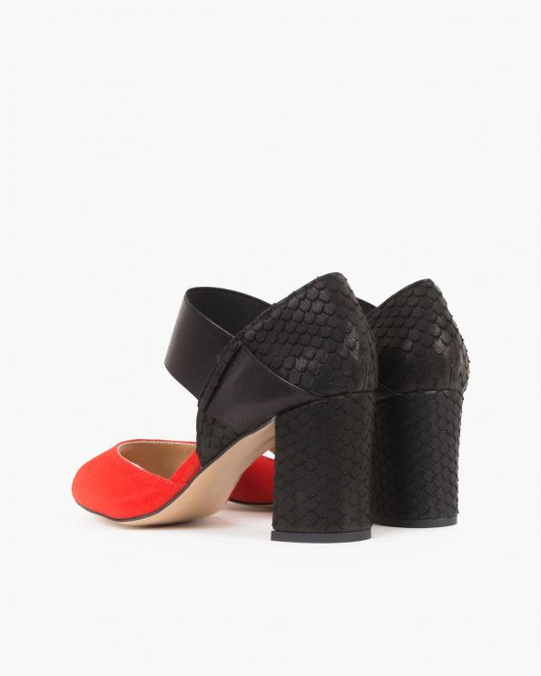 Czerwono-czarne sandały damskie welurowe na słupku  101-513-302-293