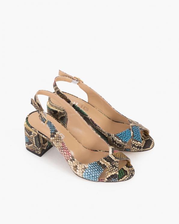 Wielokolorowe sandały damskie skórzane z motywem  101-477-233