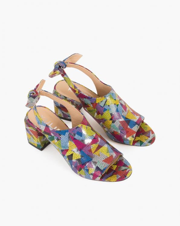 Wielokolorowe sandały damskie skórzane z motywem  101-471-229