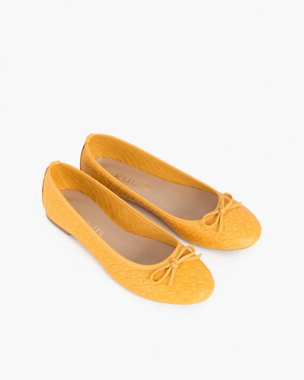 Żółte baleriny skórzane z kokardką  100-6048-ŻÓŁTA