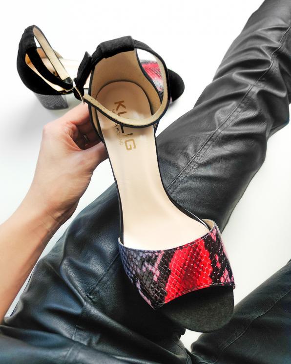 Czarne sandały damskie welurowe z motywem  058-8693-D-122