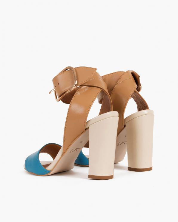 Beżowo-niebieskie sandały damskie skórzane na słupku  076-3224-NIEBIES