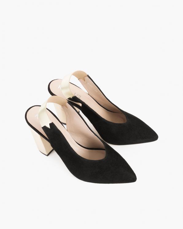 Czarne sandały damskie welurowe na słupku  012-2040-02-CZAR