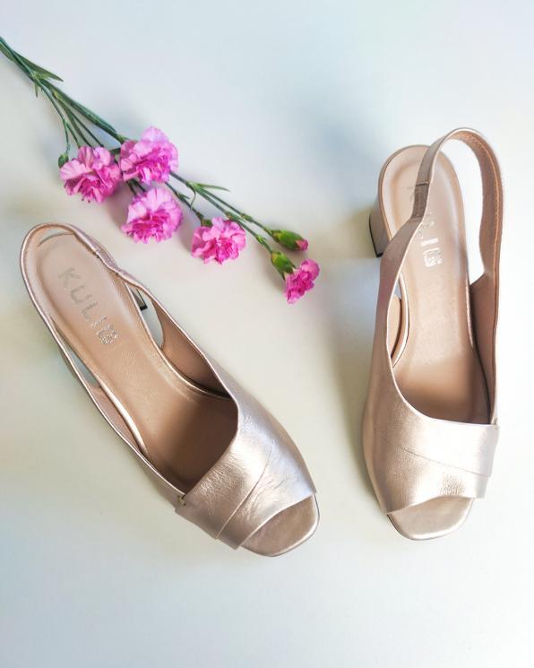 Złote sandały damskie skórzane na słupku  012-1210-823-ZŁO