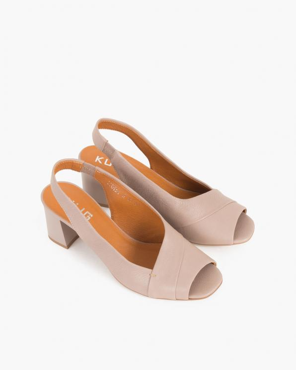 Beżowe sandały damskie skórzane na słupku  012-1210-2210-CA