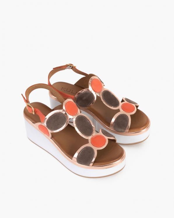 Złoto-pomarańczowe sandały damskie skórzane na koturnie  103-8021-RUDE