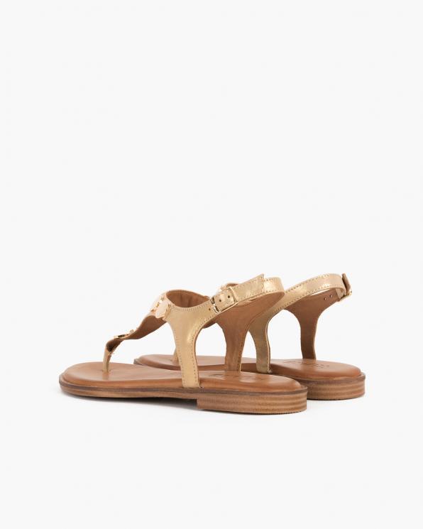 Złote sandały damskie nubukowe z ćwiekami  103-5251-ZŁOTY