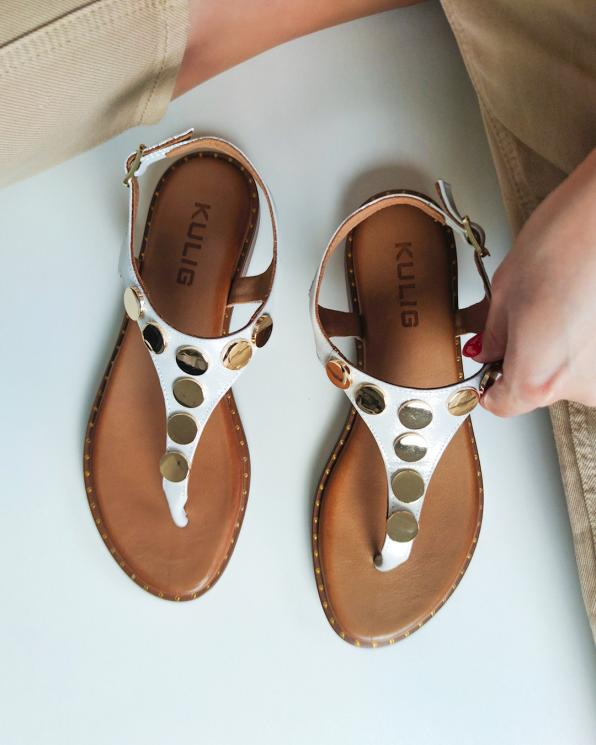 Srebrne sandały damskie nubukowe z ćwiekami  103-5251-BIAŁY