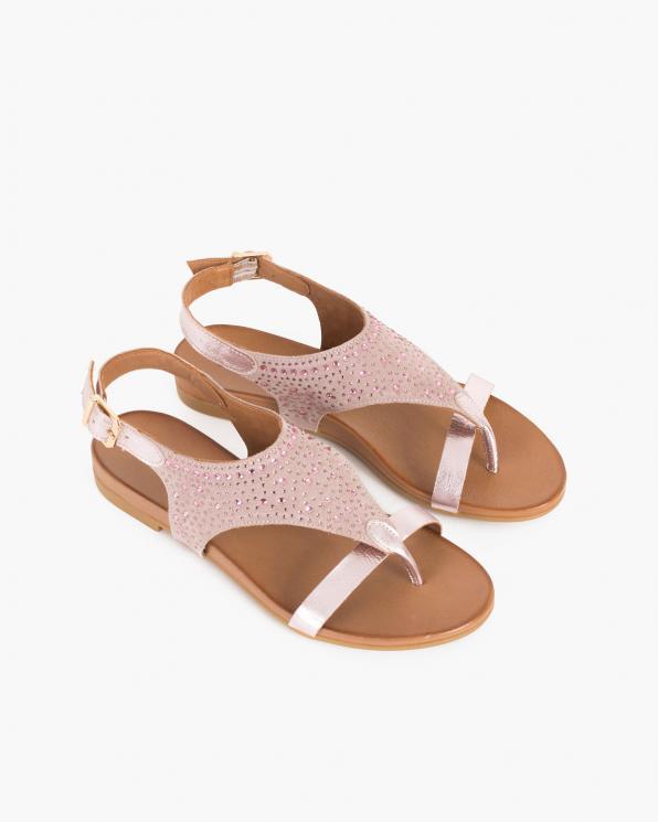 Pudrowe sandały damskie nubukowe z kryształkami  103-060-CAMEO