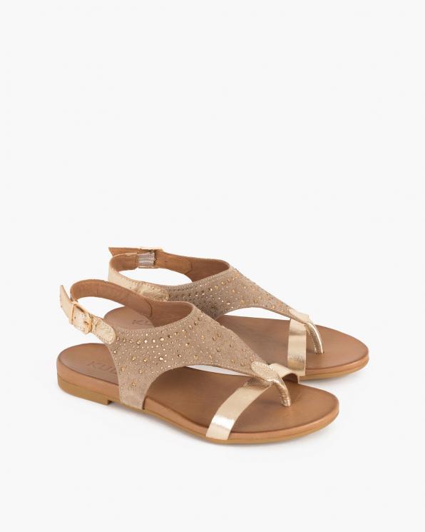 Beżowe sandały damskie nubukowe z kryształkami  103-060-BEŻ