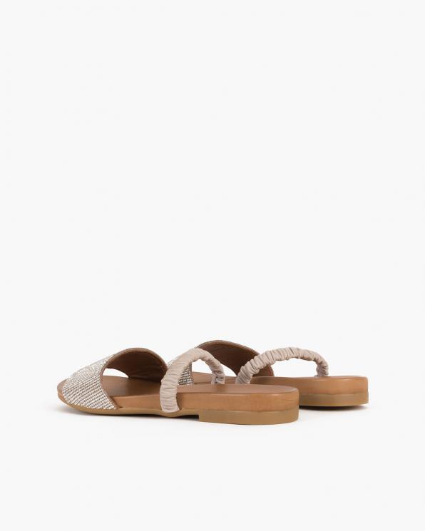 Beżowe sandały damskie skórzane z kryształkami  103-0127-STONE