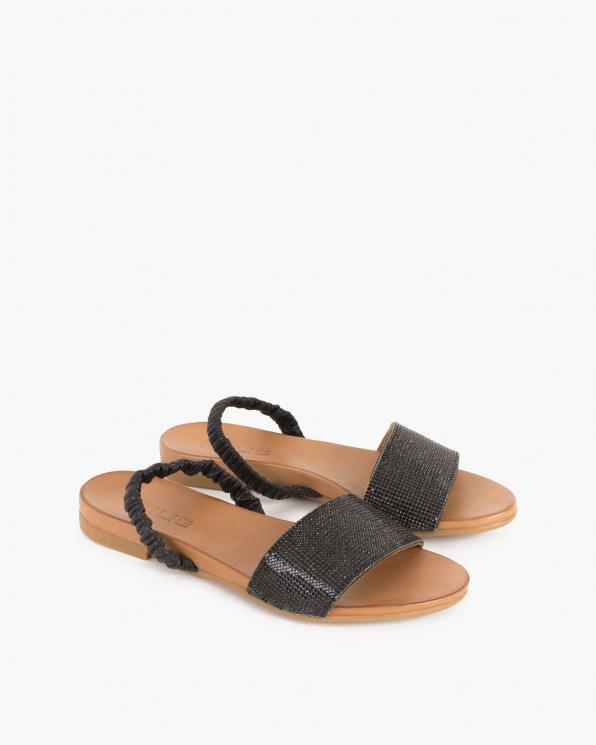 Czarne sandały damskie skórzane z kryształkami  103-0127-CZARNY