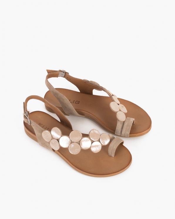 Beżowe sandały damskie nubukowe z kółeczkami  103-0033-BEŻ