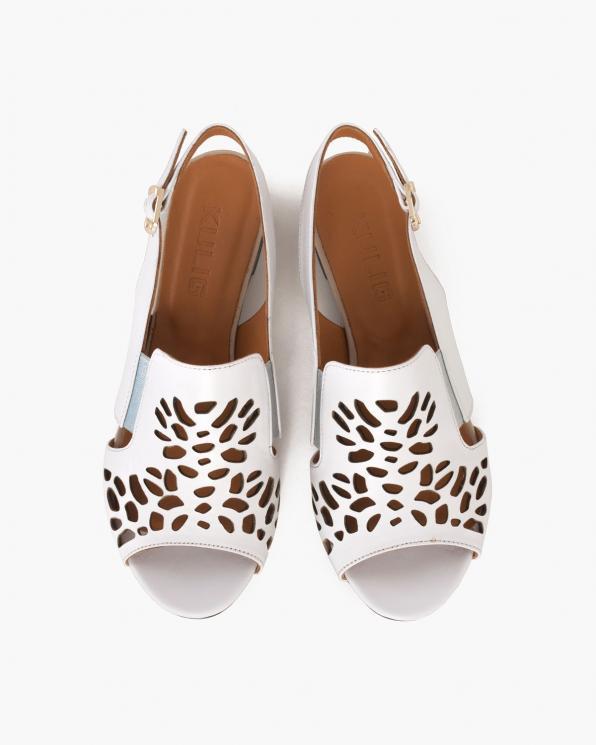 Białe sandały damskie skórzane  104-771-05-BIAŁY