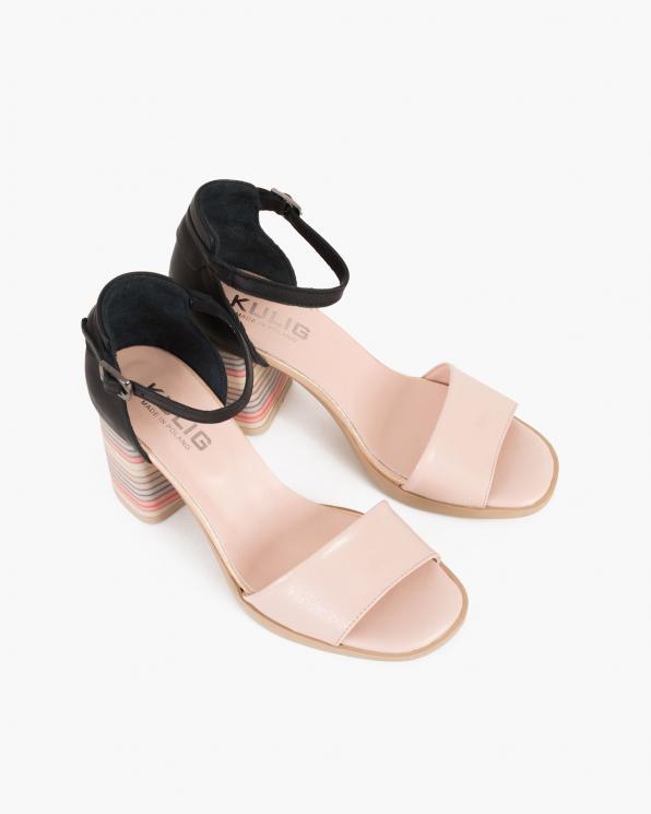 Czarno-beżowe sandały damskie skórzane na słupku  086-2475-050-051