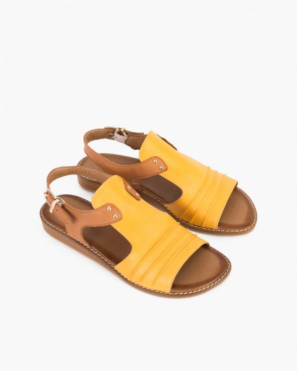 Rudo-żółte sandały damskie skórzane  086-2373-085-074