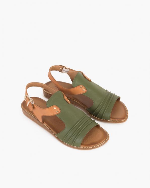 Rudo-oliwkowe sandały damskie skórzane  086-2373-081-074