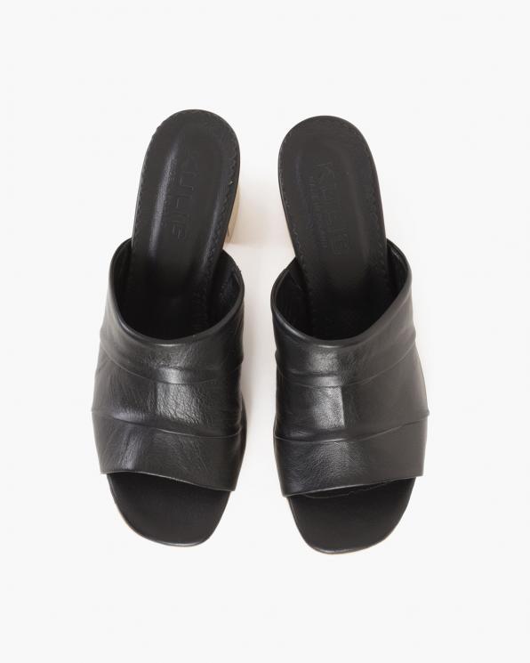 Czarne klapki damskie skórzane na słupku  086-2354-075