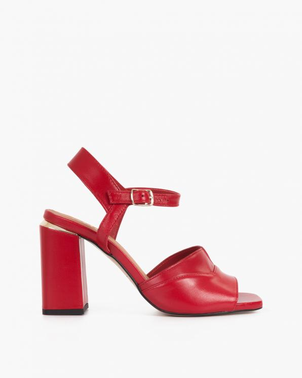 Czerwone sandały damskie na klocku  076-2044-CZERWON