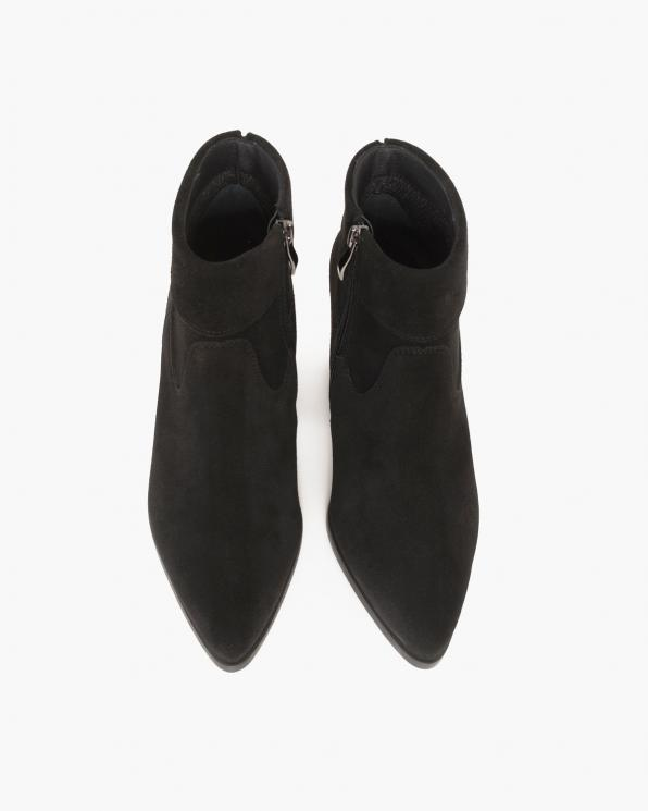 Czarne botki welurowe na słupku  058-5304-CZ-WEL