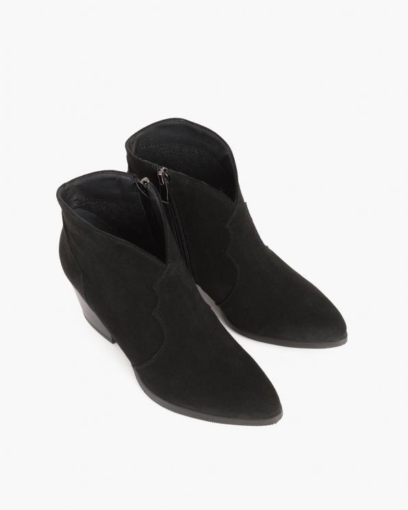 Czarne kowbojki welurowe na słupku  058-1304-CZ-W