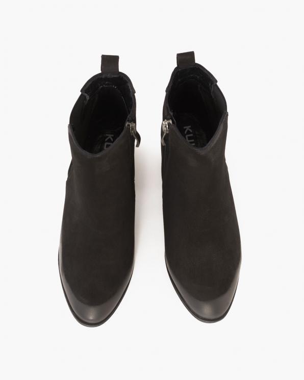 Czarne botki nubukowe na słupku  089-87502-CZ-NUB