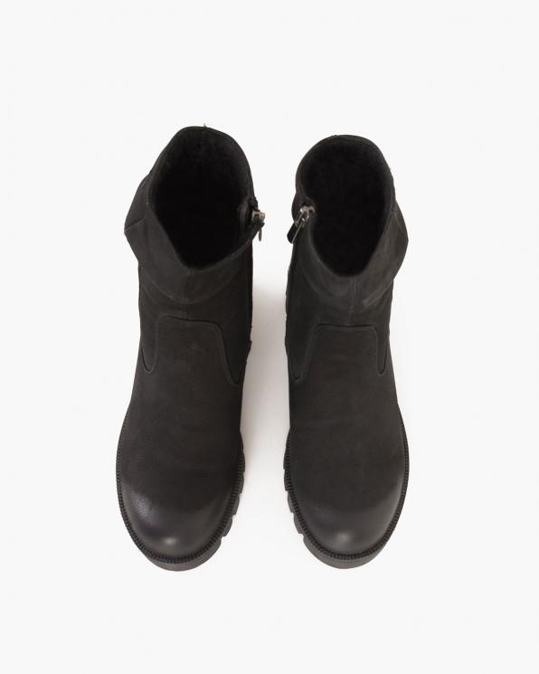 Czarne botki nubukowe  086-3384-NUBUK