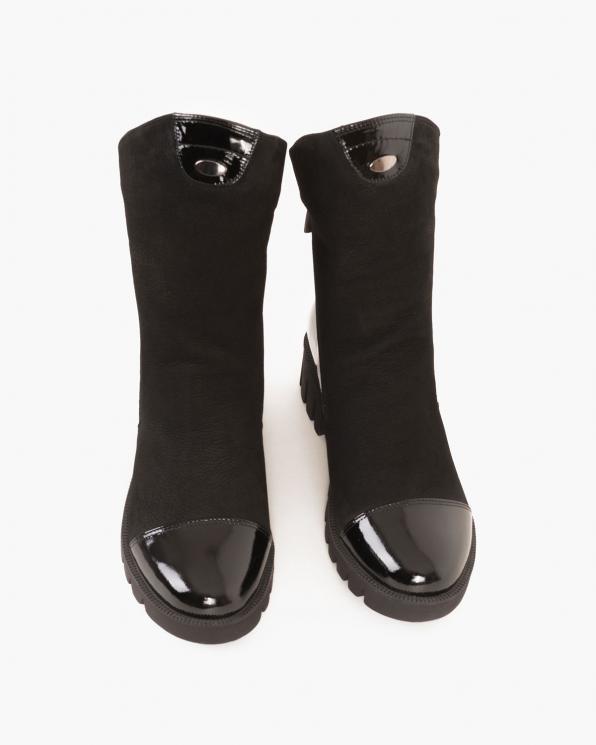 Czarne botki nubukowe  086-3071-NUBUK