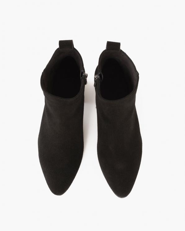 Czarne botki welurowe na słupku  005-18702-CZ-W
