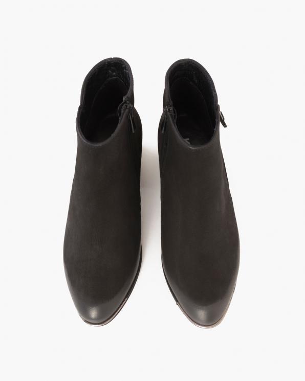 Czarne botki nubukowe na słupku  089-87503-CZ-NUB
