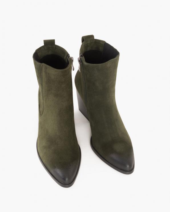 Zielone botki welurowe na słupku  005-67702-ZIEL