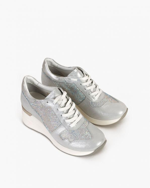 Srebrne sneakersy nubukowe z kryształkami  098-600-SREBRNY
