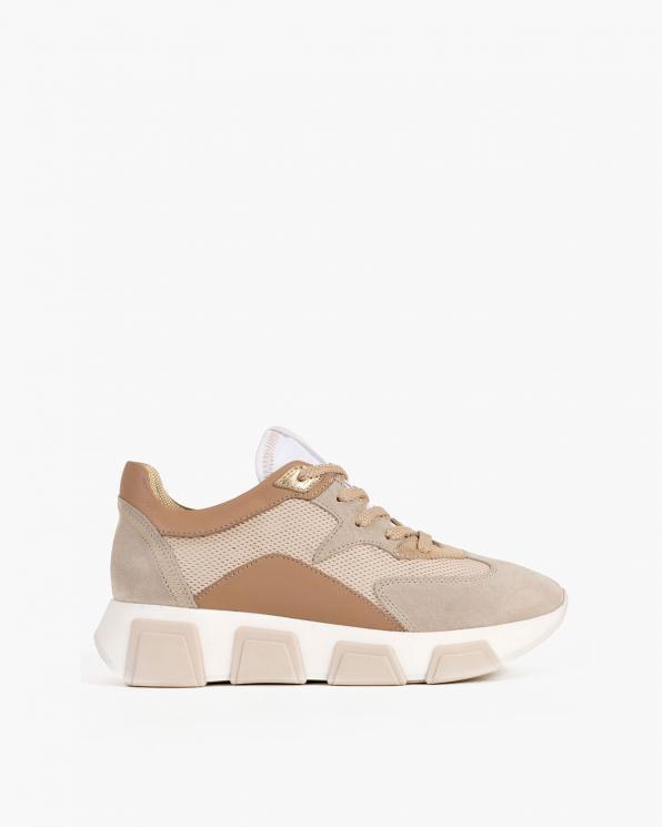Beżowe sneakersy nubukowe z siatką  098-5078-BEZ