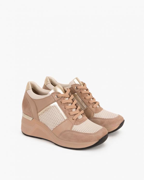 Beżowe sneakersy nubukowe z siatką  098-427-BEŻOWE