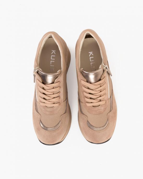 Beżowe sneakersy nubukowe z siatką  098-4118-BEŻOWY