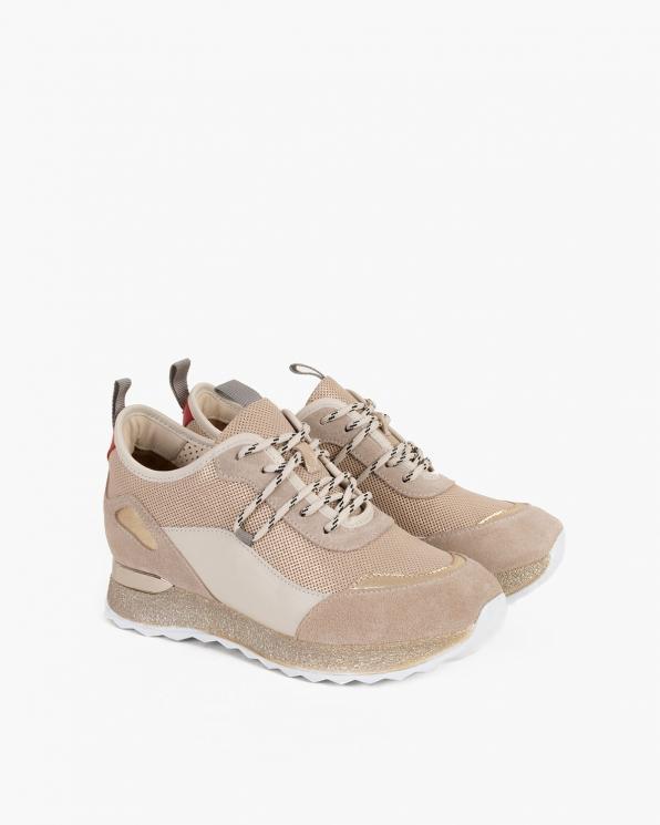 Beżowe sneakersy nubukowe z siatką  098-4117-VANILIA
