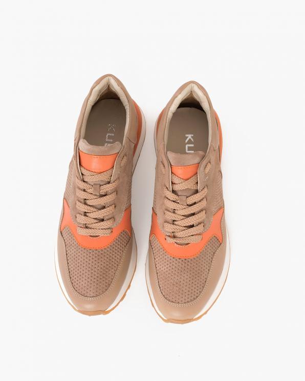 Beżowo-pomarańczowe sneakersy nubukowe z siatką  098-408-