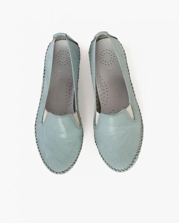 Błękitne mokasyny damskie skórzane  097-435-BŁĘKIT