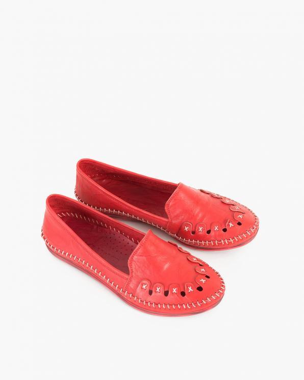 Czerwone mokasyny damskie skórzane  097-429-CZEROWNY