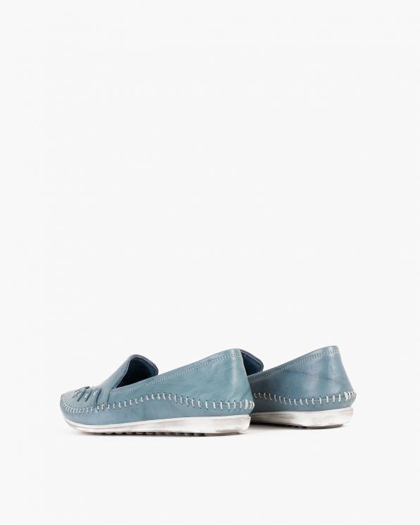 Niebieskie mokasyny damskie skórzane  097-429-BLUE