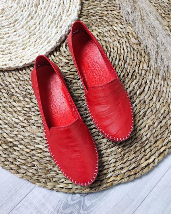 Czerwone mokasyny damskie skórzane  097-427-CZERWONY